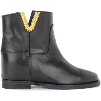 Chaussures Femme Low boots Via Roma 15 Tronchetto in pelle nera con V dorata Noir