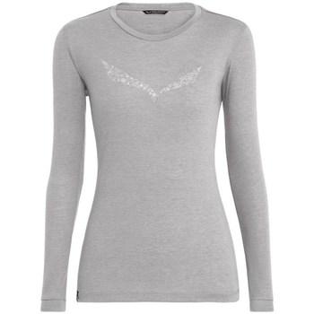 Vêtements Femme T-shirts manches longues Salewa Solidlogo Dry W Gris
