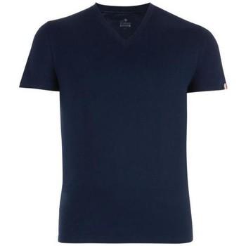 Vêtements Homme T-shirts manches courtes Eminence T-shirt Col V Homme Coton FAIT EN FRANCE Marine Bleu
