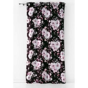 Maison & Déco Rideaux, stores Douceur D'intérieur Rideau à œillets 140x240 velours Velvet flower noir Noir