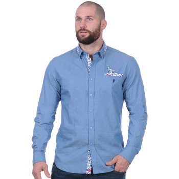 Vêtements Homme Chemises manches longues Ruckfield Chemise Rugby à manches longues bleue Noir