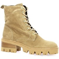 Chaussures Femme Boots Pao Rangers cuir velours Camel