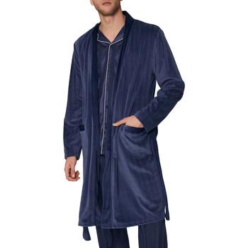 Vêtements Homme Pyjamas / Chemises de nuit Admas For Men Robe de chambre Satin Stripes Admas Bleu Marine