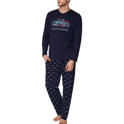 Vêtements Homme Pyjamas / Chemises de nuit Admas For Men Pyjama tenue d'intérieur pantalon et haut Old School Admas Bleu Marine