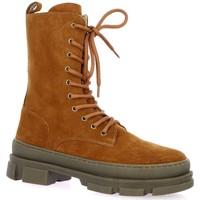Chaussures Femme Bottines Exit Boots cuir velours Cognac