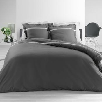 Maison & Déco Parures de lit 1001Kdo Pour La Maison Parure Housse de couette Percale Satine Anthracite 260x240cm Multicolore