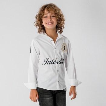 Vêtements Garçon Chemises manches longues Interdit De Me Gronder BALINGTON Blanc