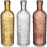 Maison & Déco Bouteilles Atmosphera Lot de 3 Vases Bouteille en Verre Folk Rose et Ocre