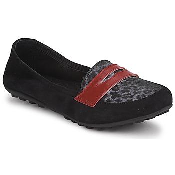 Chaussures Fille Mocassins Mod'8 CELEMOC JUNIOR Noir / Léopard / Rouge