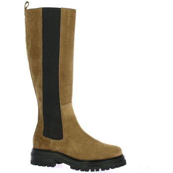 Chaussures Femme Bottes ville Impact Bottes cuir velours Camel