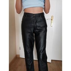 Vêtements Femme Pantalons 5 poches Autre Pantalon noir cuir véritable Noir