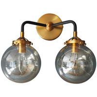 Maison & Déco Appliques Chehoma Applique noire dorée double bras 31x20x37cm Noir et doré