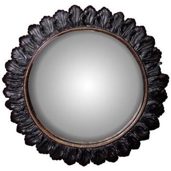Maison & Déco Miroirs Chehoma Miroir convexe Fleurs du mal 28cm Noir