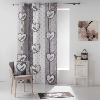 Maison & Déco Rideaux, stores 1001Kdo Pour La Maison 1 Rideau a oeillet 140x280 cm Love bird Blanc