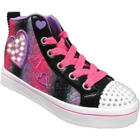 Chaussures Fille Baskets montantes Skechers Twi-lites 2 heart gem Noir/Rose