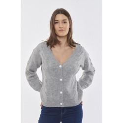 Vêtements Femme Gilets / Cardigans Best Mountain Gilet en maille anglaise et boutons nacrés GRIS CHINE