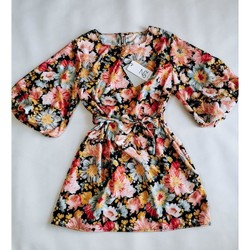 Vêtements Femme Robes courtes Made In Italia Moderne Robe Mini Flowers Black Multicolore