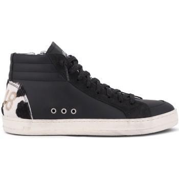 Chaussures Femme Baskets montantes P448 Skatec Noir  Vache Blanc Blanc