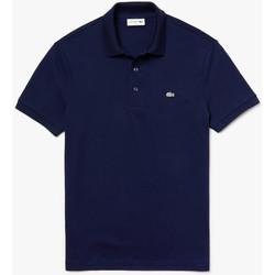 Vêtements Homme Polos manches courtes Lacoste Polo  slim fit en petit piqué stretch uni Bleu Marine