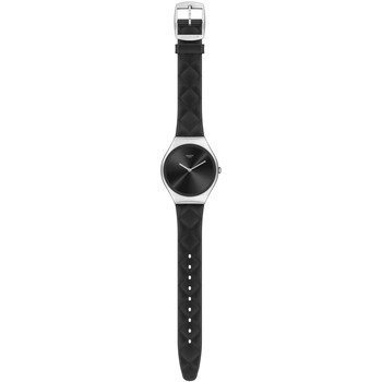 Montres & Bijoux Femme Montres Mixtes Analogiques-Digitales Swatch Montre  Black Quilted collection Skin Irony Blanc