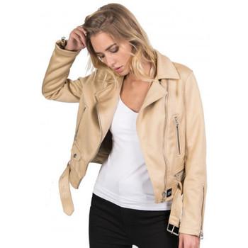 Vêtements Blousons Sixth June Veste Perfecto beige W3183 Beige
