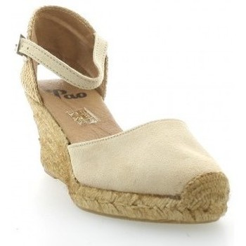 Chaussures Femme Espadrilles Pao Espadrille cuir velours Beige