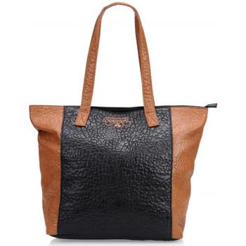 Sacs Femme Cabas / Sacs shopping Le Temps des Cerises Sac  Ilya 1 Noir/Cognac Noir