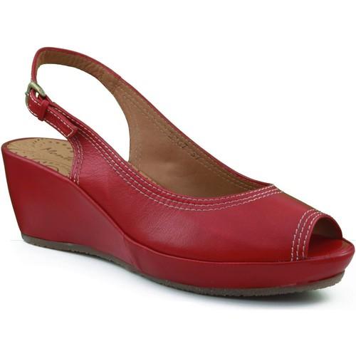 Chaussures Femme Sandales et Nu-pieds Montesinos coin chaussure avec confortable et anatomique ROUGE