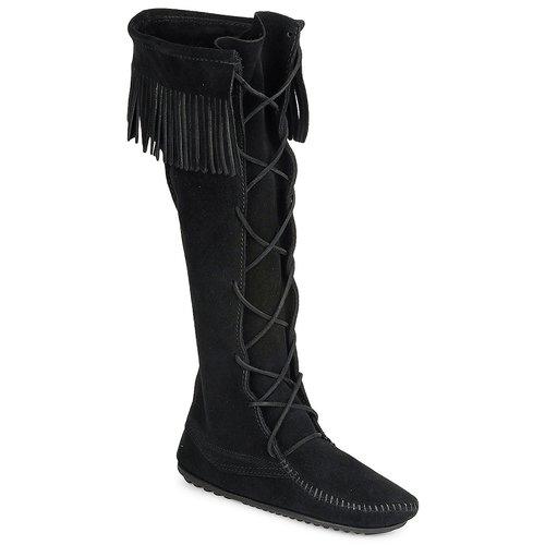 Chaussures Femme Bottes ville Minnetonka FRONT LACE HARDSOLE KNEE HI BOOT Noir