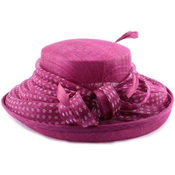Accessoires textile Femme Chapeaux Léon Montane Chapeau Mariage Mellona en sisal Fuschia pois blanc Rose