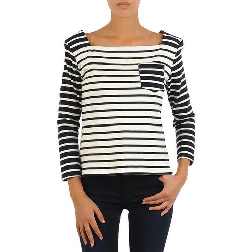 Vêtements Femme T-shirts manches longues Petit Bateau CARTABLE Marine / Blanc