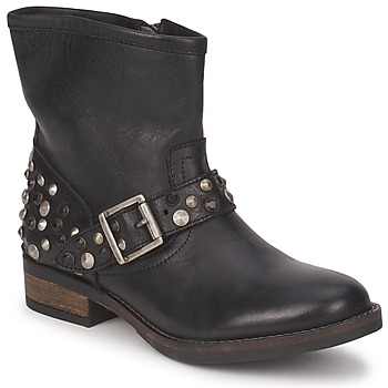 Chaussures Femme Boots Pieces ISADORA LEATHER BOOT Noir