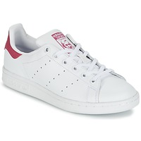 Chaussures Fille Baskets basses adidas Originals STAN SMITH J Blanc / Rose
