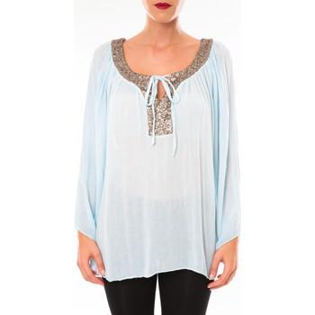 Vêtements Femme Tuniques Tcqb Tunique TDI paillettes bleu ciel Bleu