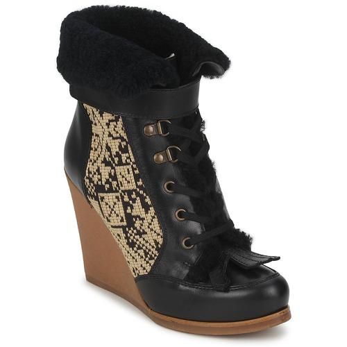 Chaussures Femme Bottines Etro DENISE Noir / Beige