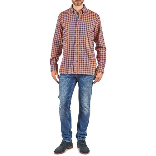 SOFT BRIGHT CHECK  Hackett  chemises manches longues  homme  orange / bleu