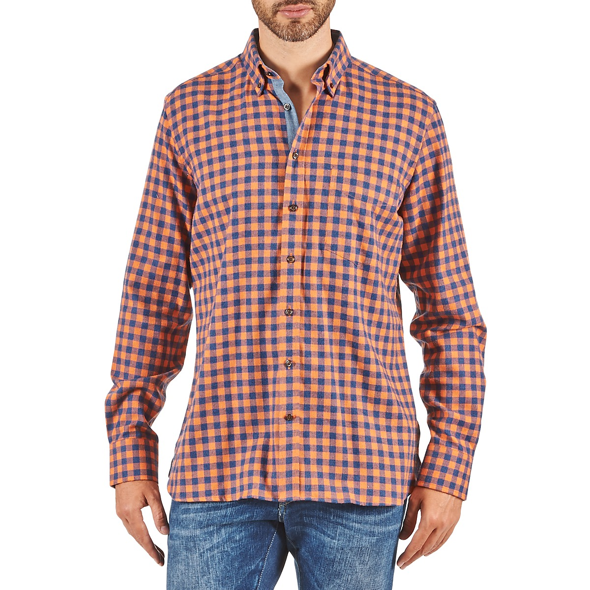 Hackett SOFT BRIGHT CHECK Orange / Bleu