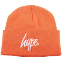 Accessoires textile Homme Bonnets Hype Bonnet à Revers  Script Orange et Blanc Orange