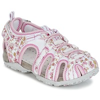 Chaussures Fille Sandales sport Geox S.ROXANNE C Blanc / Rose