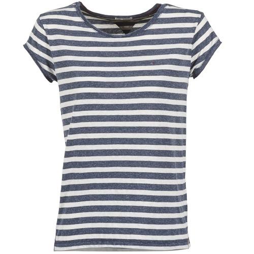 Vêtements Femme T-shirts manches courtes Tommy Jeans AMELIE Marine / Blanc