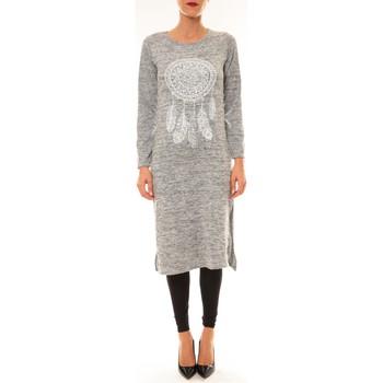 Vêtements Femme Robes longues By La Vitrine Robe Plume gris clair Gris
