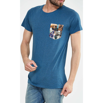 T-shirts manches courtes Rvlt Revolution Tee Mc One Pocket Photo Gravure  Bleu Petrole