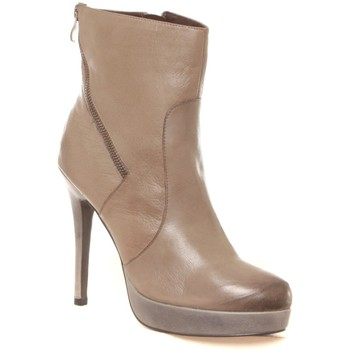 Chaussures Femme Bottines Ilario Ferucci Bottines en cuir Gicanda taupe Marron