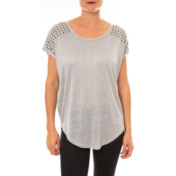 Vêtements Femme T-shirts manches courtes Carla Conti Top C2163 gris Gris