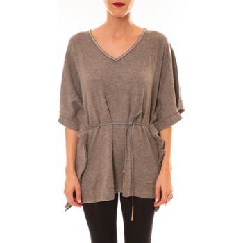 T-shirts manches courtes Carla Conti Pull MC3120 gris foncé