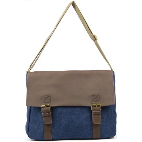 Sacs Homme Sacs Bandoulière Oh My Bag Sacoche homme CUIR et TOILE - Modèle CANCUN bleu jeans BLEU JEANS