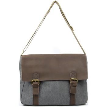 Sacs Bandoulière Oh My Bag Sacoche homme CUIR et TOILE - Modèle CANCUN gris