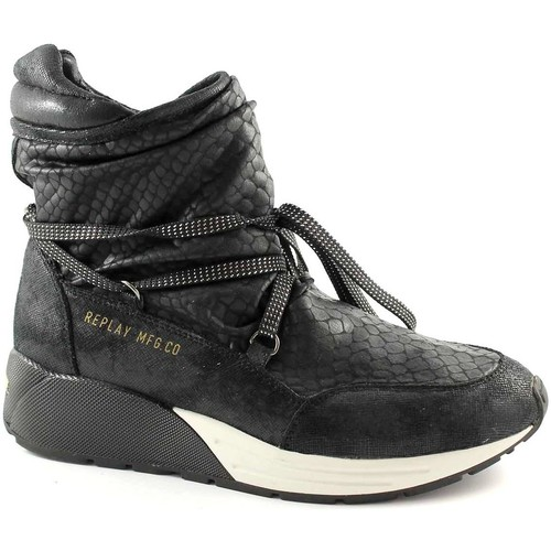 Chaussures Femme Baskets montantes Replay RS360001S Starlaw bottines noires milieu baskets femme Nero