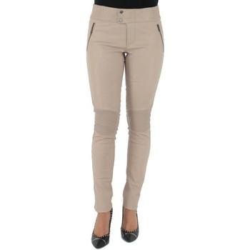 Vêtements Femme Chinos / Carrots Pallas Cuir Pantalon  sélection en cuir ref_sof37618-beige beige