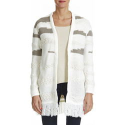 Vêtements Femme Gilets / Cardigans Obey Cardigan Long Findon Frange  Creme Ecru